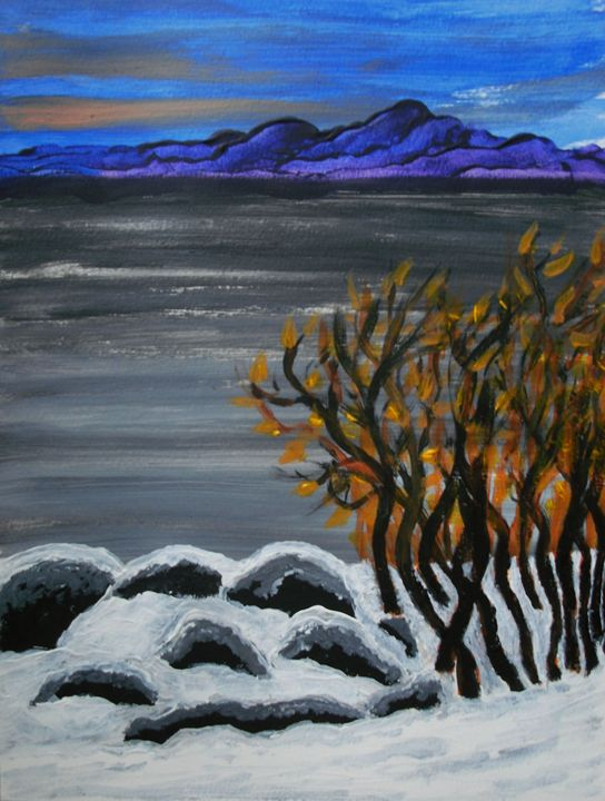 Winter night by the lake - George Hunter Contemporary Artist