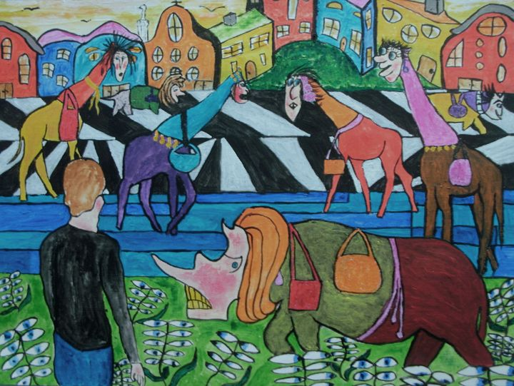 Ladies shopping in the Toon - George Hunter Contemporary Artist