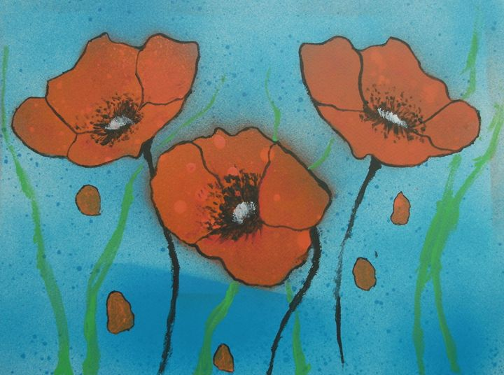 Red Poppies with water - George Hunter Contemporary Artist
