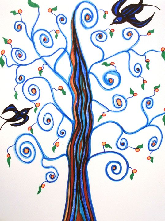 Swallows in the Orange Tree - George Hunter Contemporary Artist