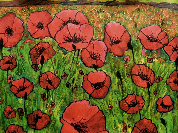 Red Poppies in field - George Hunter Contemporary Artist