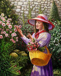 Purple Woman In Garden