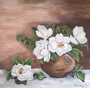 Magnolias in clay pot