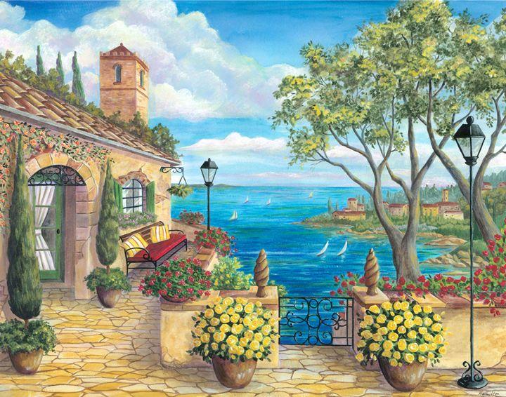 Sunny Villa by the Sea - Art by Cheryl Hamilton