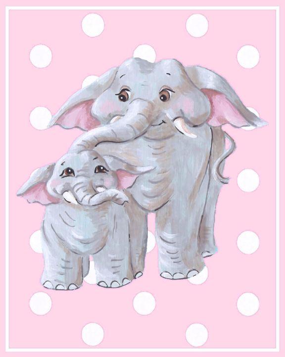 Pink elephants - Art by Cheryl Hamilton