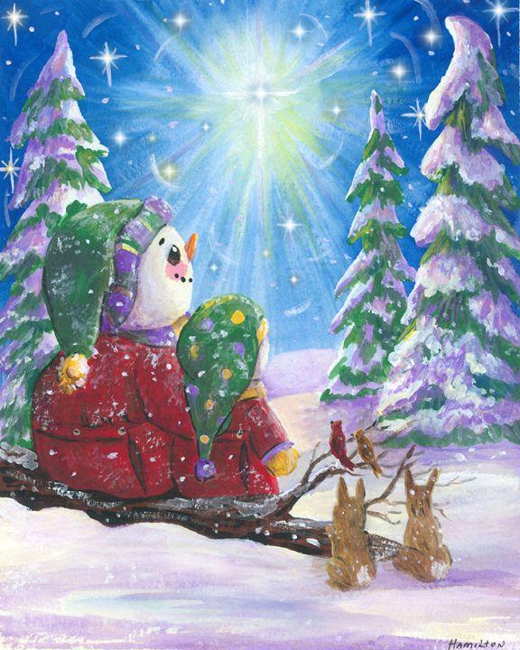 Snowmen and Star - Art by Cheryl Hamilton