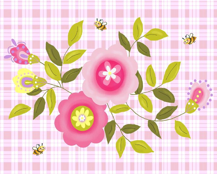 Pink flowers with bees - Art by Cheryl Hamilton