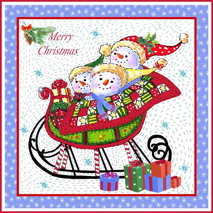Sleighing snowmen - Art by Cheryl Hamilton