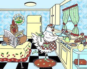 Chickens at Breakfast