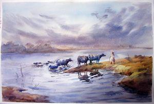 watercolor landscape by M Kazmi