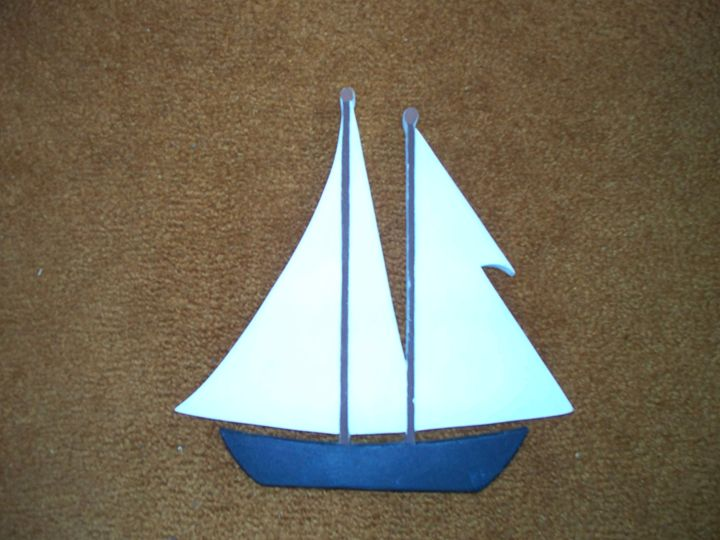 Hand Carved Sailboat - Kenneth's Art Gallery