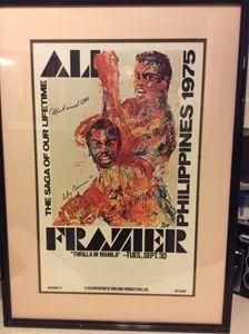 Ali va Frazier 3 Fight poster signed