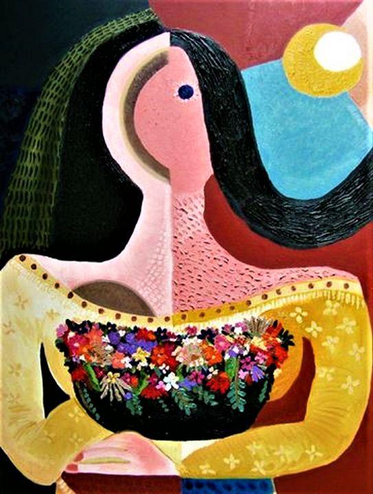 Basket of Garden Flowers - Karen Serfinski