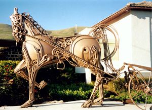 Horse and Plough by Shimon Drory