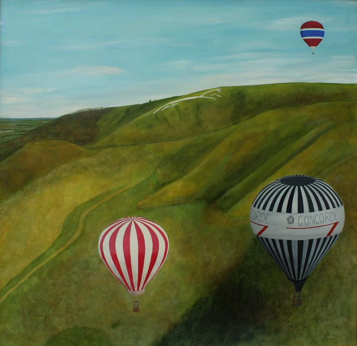 Balloons over Uffington White Horse - Robert Harris