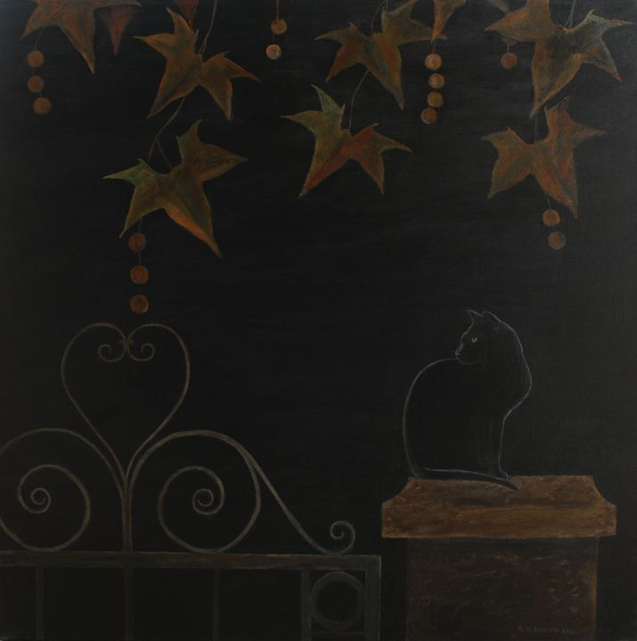 Black Cat on a Gatepost - Robert Harris