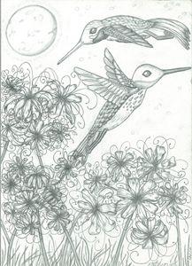 Hummingbirds and Higanbanas