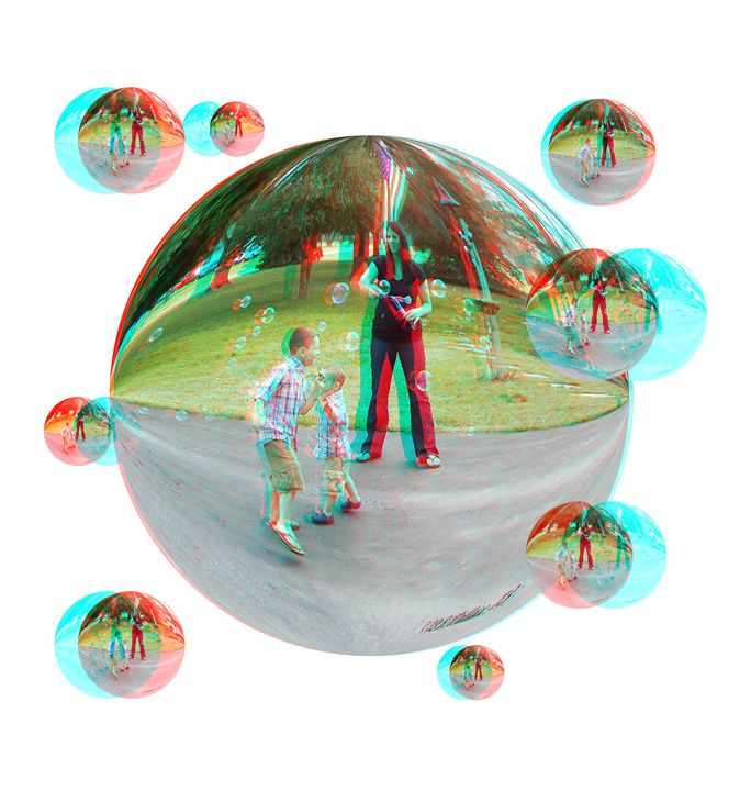 Chasing Bubbles - 3D Stereo Anaglyph - Brian Wallace