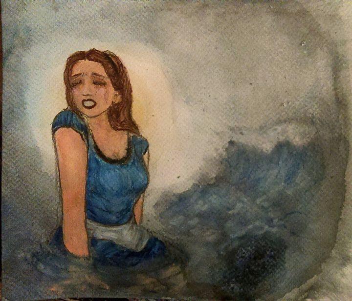 Alice Cries A Sea Of Tears - Jen Hallbrown Art