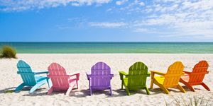 Adirondack Beach Chairs on a Sun Bea