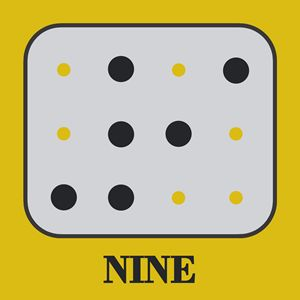 Colored Braille Number Nine