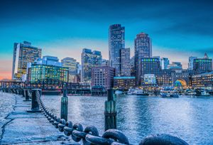 Boston during sunset hour