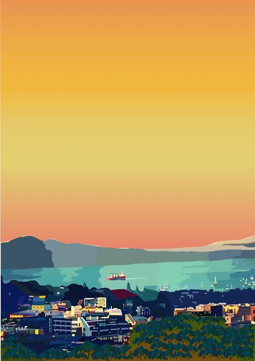 Auckland Harbour - Art By Sarah Molloy NZ
