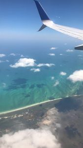 Sky and water from airplane view
