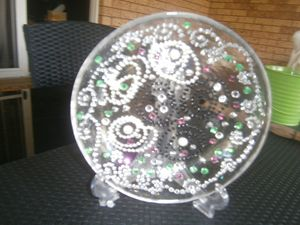 Hand made Plate with Pearls.
