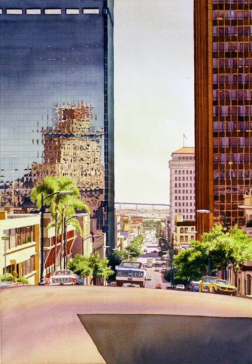 Seventh Avenue in San Diego - Mary Helmreich California Watercolors