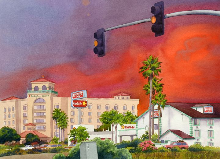 Cedar Fire San Diego 2003 - Mary Helmreich California Watercolors