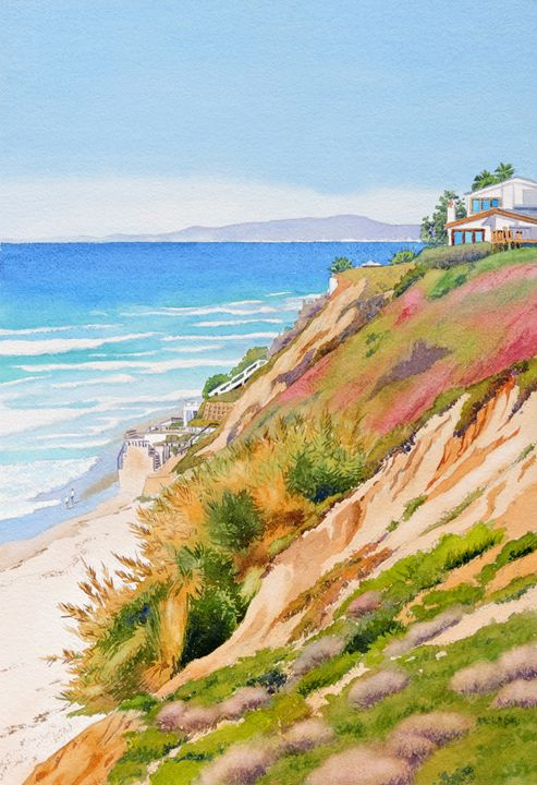 Neptune's View Leucadia California - Mary Helmreich California Watercolors