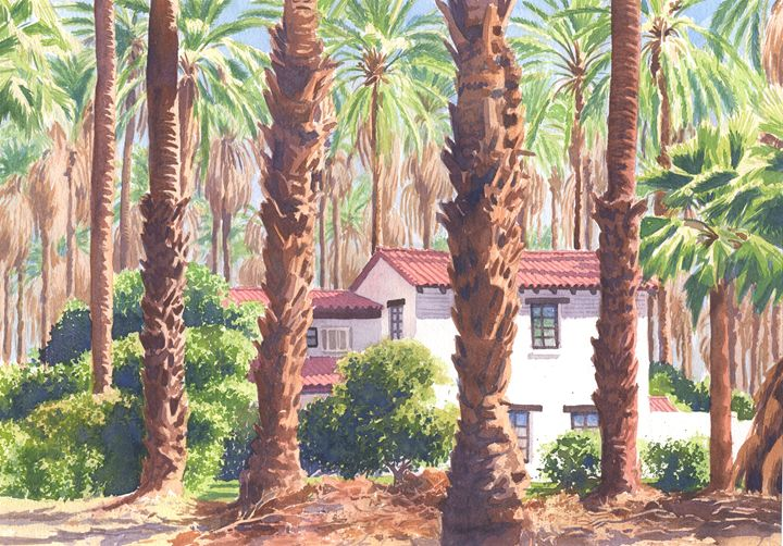 House among Date Palms in Indio - Mary Helmreich California Watercolors