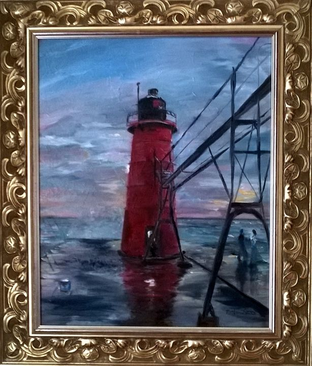 Couple At Lighthouse - Nathan Evans' Artwork