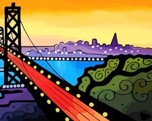 San Francisco Bay Bridge at Dusk - Artwork by Lynne Neuman