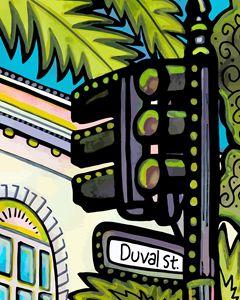 Famous Duval Street Key West - Artwork by Lynne Neuman