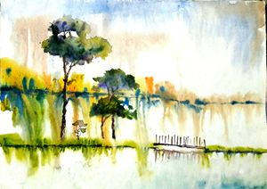 river scape,water color