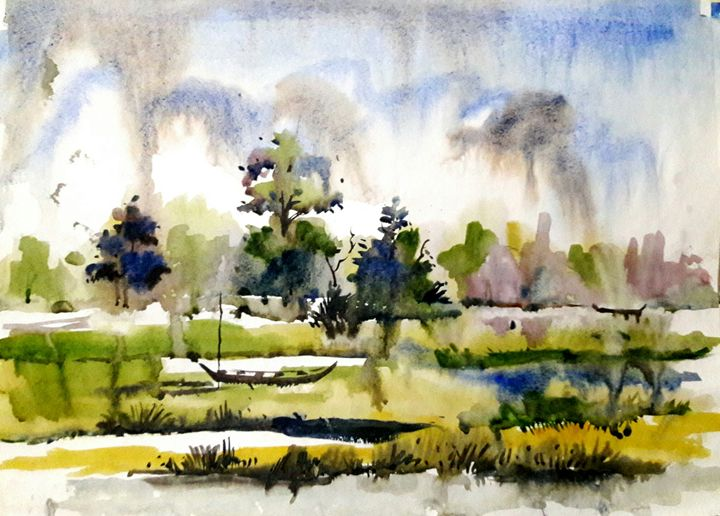 riverscape,watercolor - sumon's gallery