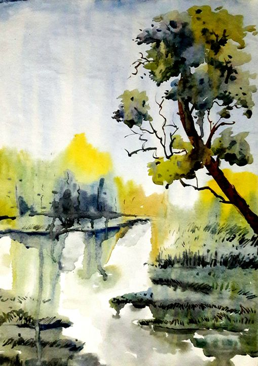 river scape,watercolor - sumon's gallery
