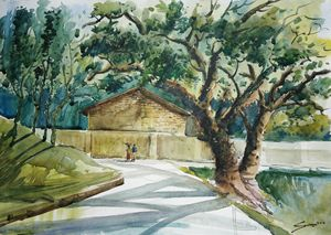 road side of pahartoli,water color
