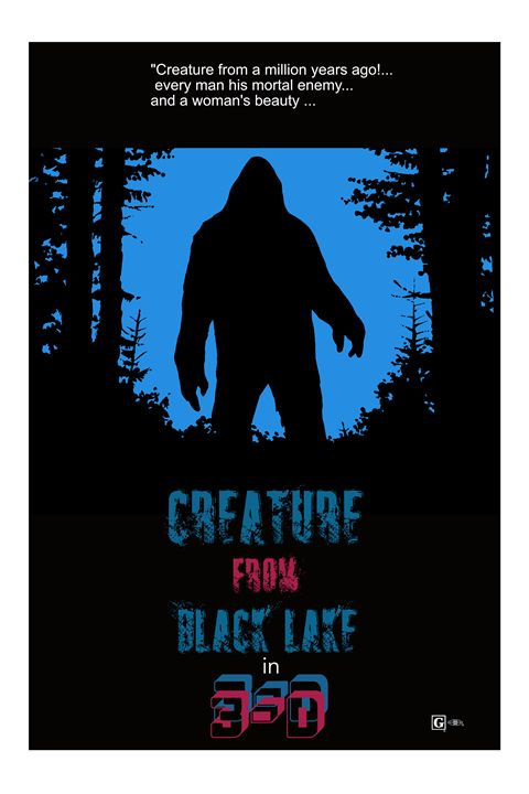 Creature from Black Lake poster art - Mickey MacKenna Artist