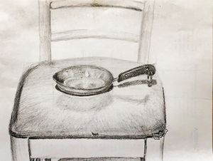 The pan and the chair.