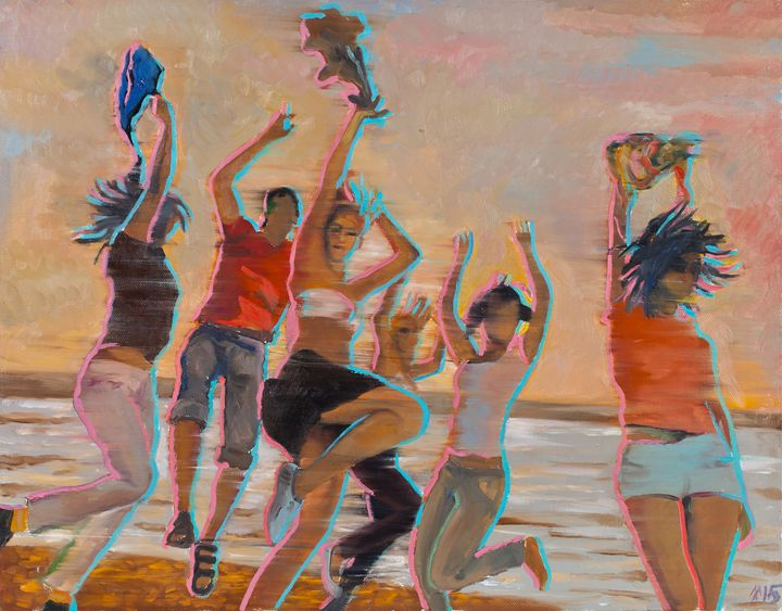 Joung people dancing at the beach - BalticGallery