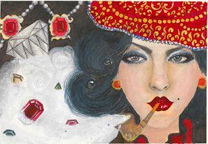 Girl Smoking a pipe