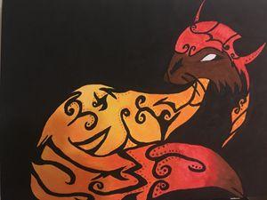 Acrylic Tribal Fox on canvas