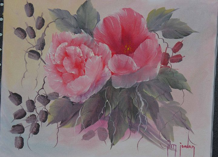 Pink Rose and Poppy - Jim Jordan Fine Art
