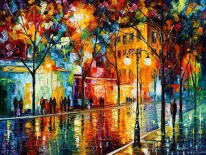 Inspirational Rain Water Oil Paintin