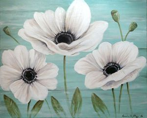 "ORIGINAL 24""x30"" Three Anemone's"