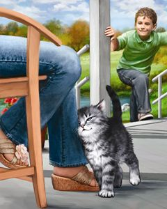Boy Visits His Friend Kitten