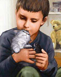 Boy Cuddles With Kitten